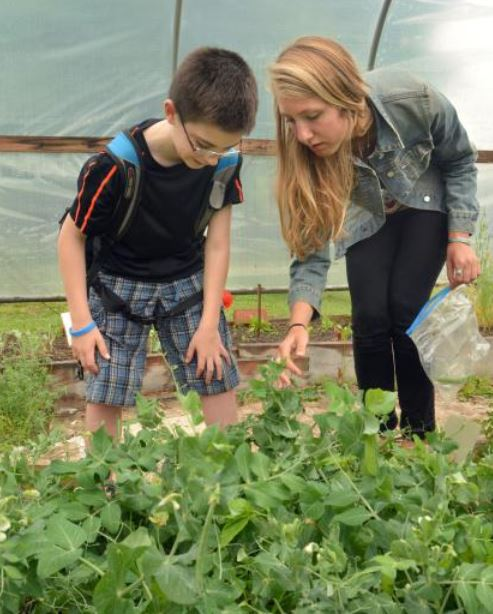 University of Massachusetts student Kelsey Welborn, who leads the greenhouse club at Amherst Regional Middle School, talks to Anthony DiMauro Thursday, June 12, at the school